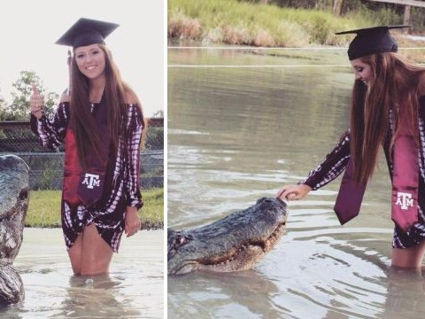 Student poses for graduation photos with her 13-foot alligator 'best friend'