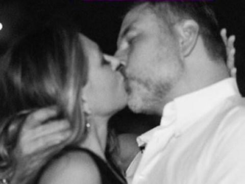 Liz Hurley plants a birthday kiss on David Walliams as Elton John gifts him a penis cake