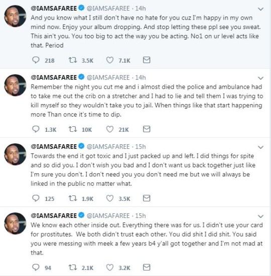 Safaree Samuels accused ex Nicki Minaj of cutting him in