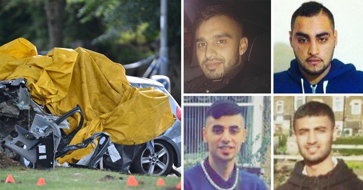 Pictured: Four men killed after BMW crashed into tree