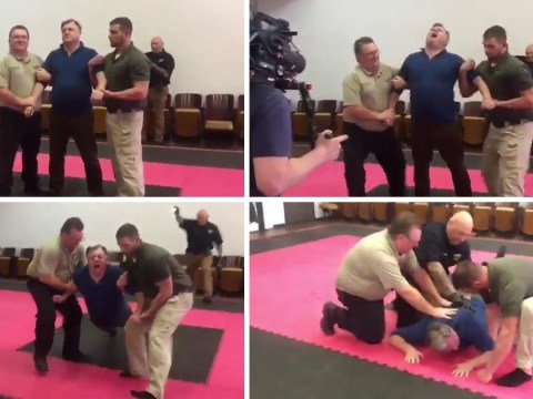 Ed Balls writhes in pain as he's tasered by policemen in Travels in Trumpland