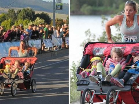 Mum breaks record in half marathon while pushing her three kids on a stroller