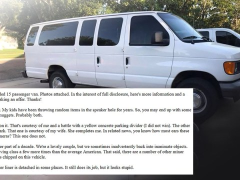 Dad writes a hilariously honest advert to sell the family van on Craigslist