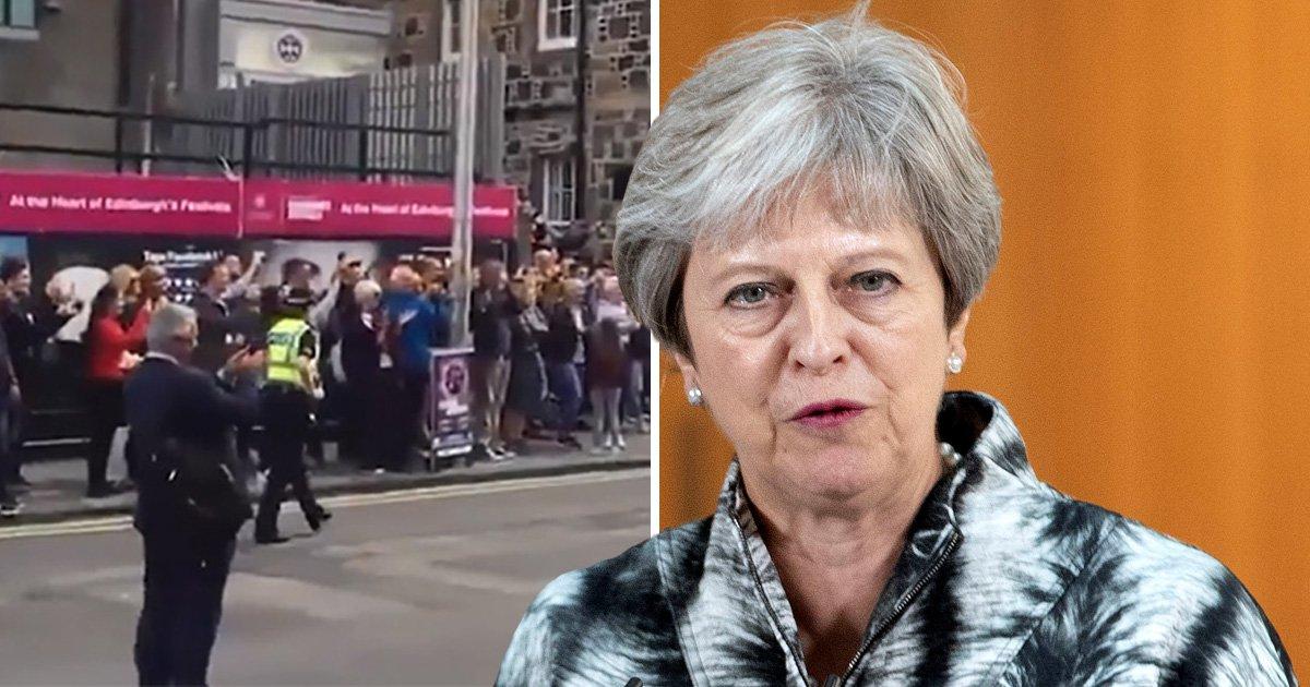 Theresa May heckled at Edinburgh Fringe festival