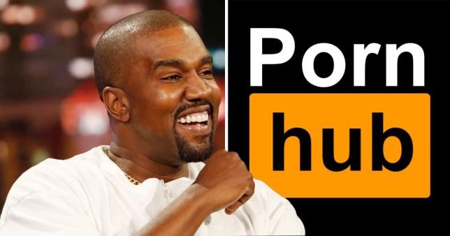 Kanye West and Pornhub logo