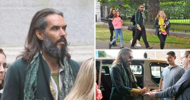 Russell Brand Seen On The Set Of Four Kids And IT In Dublin