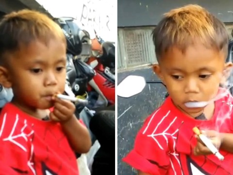 Boy, 2, with 40-a-day cigarette habit after getting hooked from butts on the street
