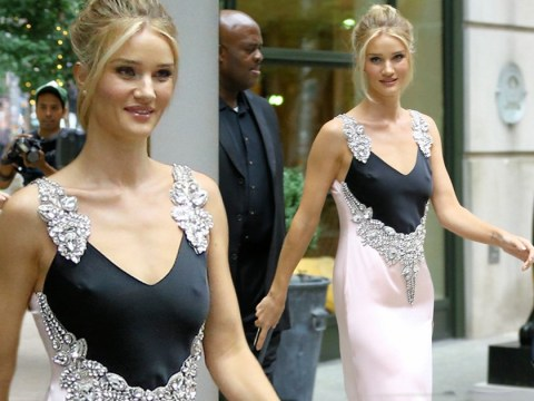 Rosie Huntington-Whiteley looks like she's going to a '90s prom in this slip dress