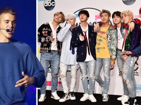 BTS just beat Justin Bieber's record on Billboard's Social 50