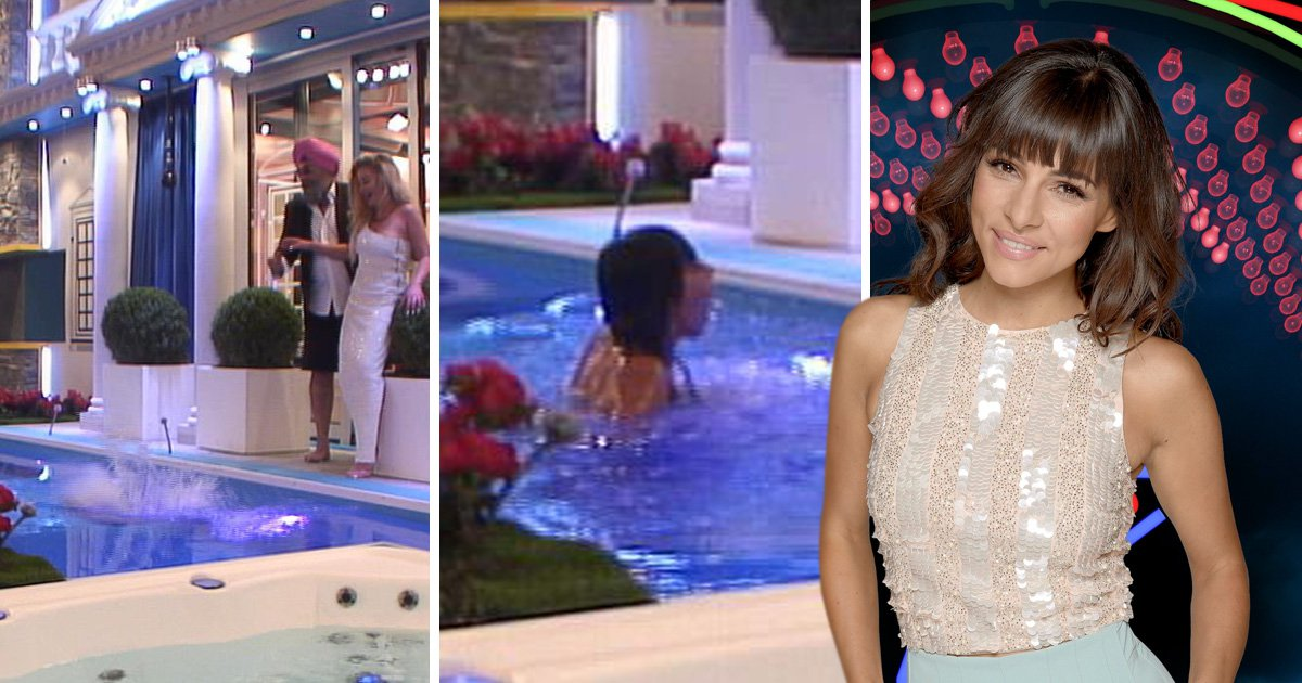 Roxanne Pallett gets drenched after she takes a tumble into the CBB pool in her best ballgown