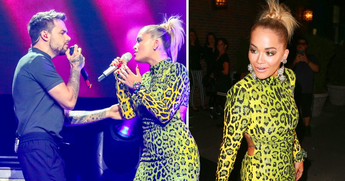Rita Ora takes a leaf out of Kim K's book in neon green dress after performing with Liam Payne