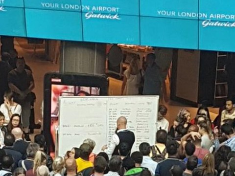 Huge computer outage at Gatwick Airport as staff are forced to resort to whiteboards