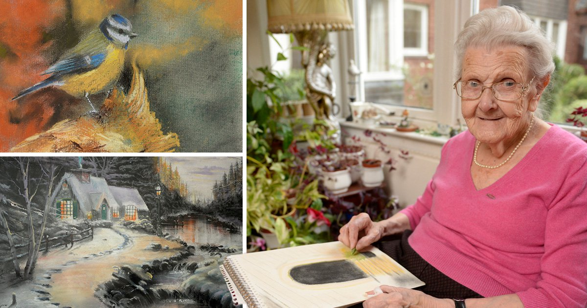 A 95-year old grandma paints stunning pictures despite being blind