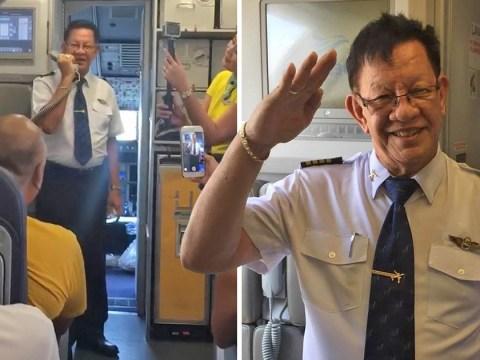 Retiring pilot breaks down in tears as he takes off on last ever flight