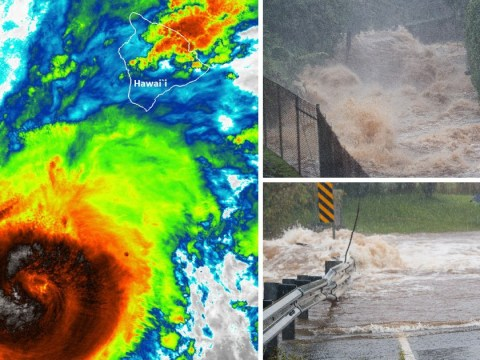 Hurricane Lane hits Hawaii with 125mph winds and flash flooding