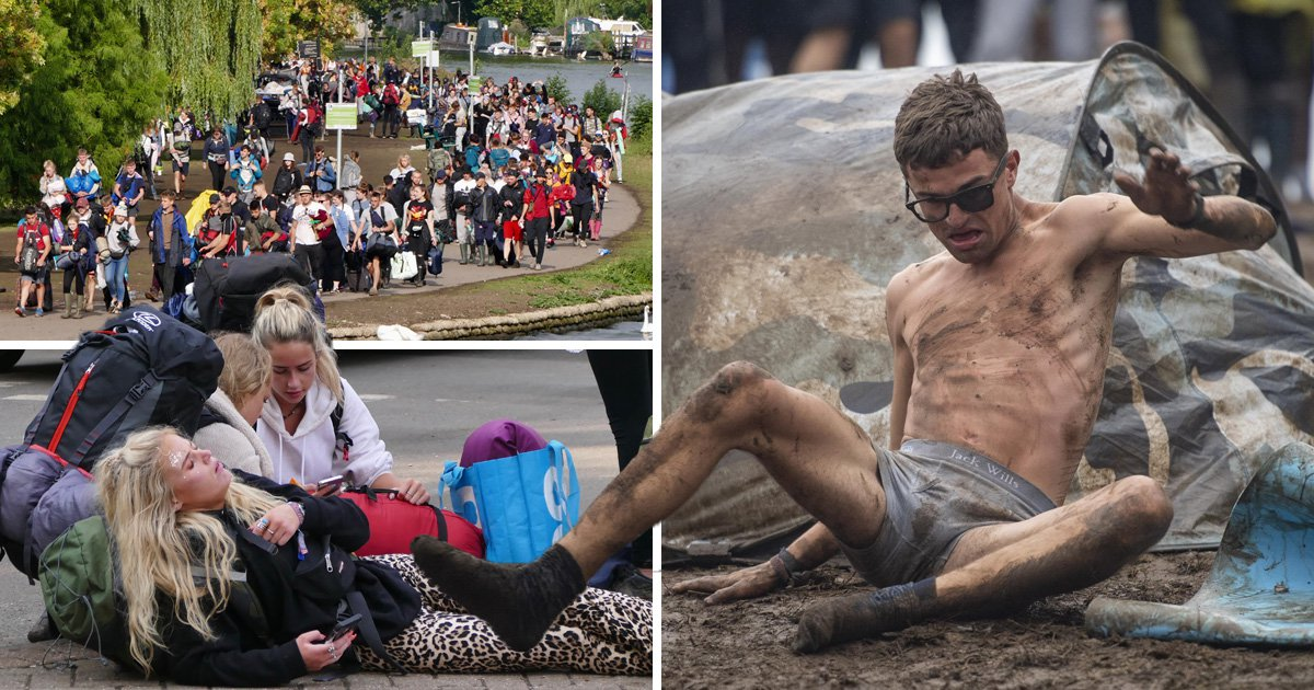 Fans depart Reading Festival mud bath in spectacular, fun-loving fashion