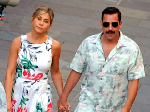 Jennifer Aniston and Adam Sandler look a little stressed as they film scenes for Murder Mystery