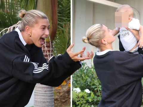 Hailey Baldwin looks broody AF as she and fiancée Justin Bieber hang out with Pastor Carl Lentz's baby