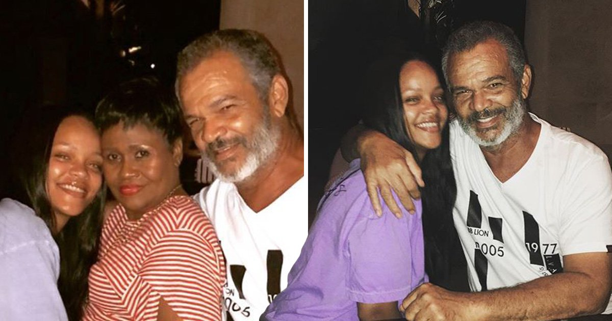 Rihanna beams in rare snap with parents as she spends quality time at home