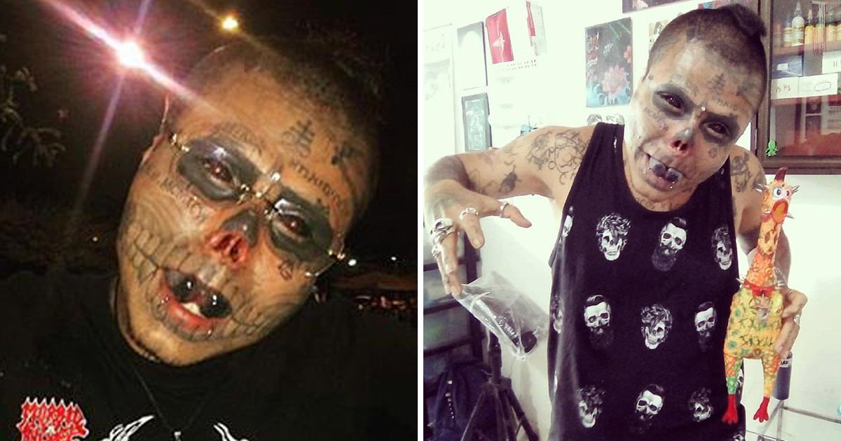 Man gets his own nose cut off, ears hacked and eyes tattooed to look like a skull
