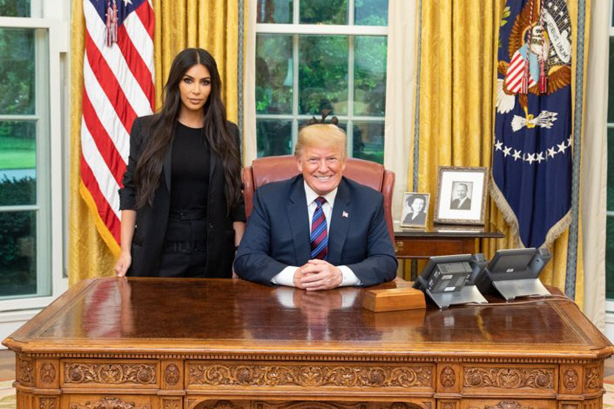 Donald Trump with Kim Kardashian at the White House (Picture: @realDonaldTrump/Twitter)