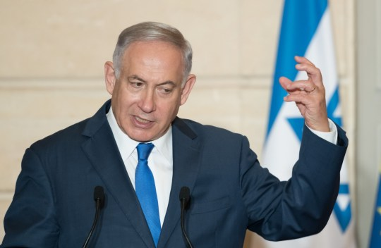 Mandatory Credit: Photo by Jacques Witt/SIPA/REX/Shutterstock (9704476i) Prime Minister of Israel Benjamin Netanyahu during a press conference at Elysee Palace. Israeli Prime Minister Netanyahu visit to Paris, France - 05 Jun 2018