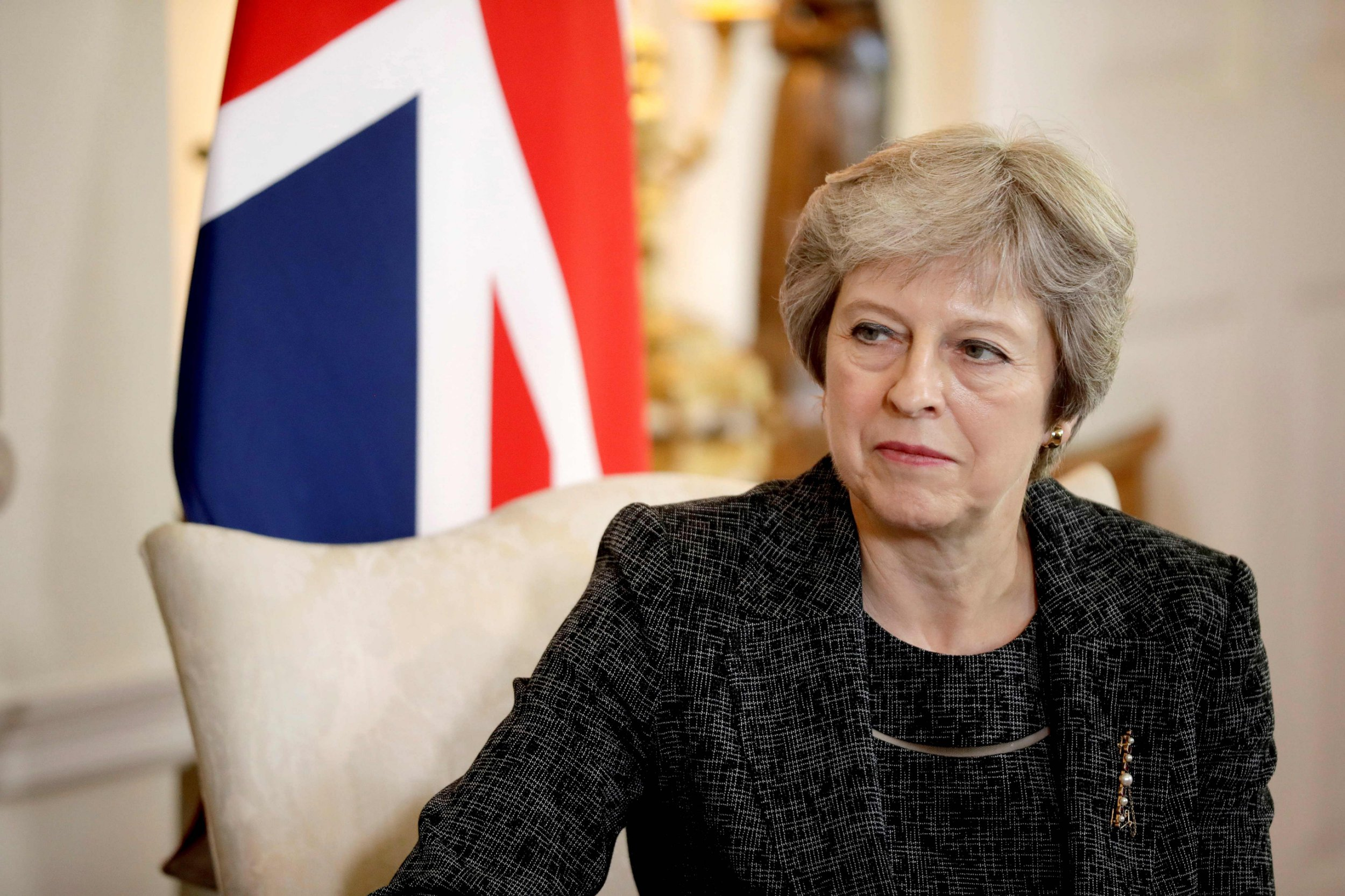 Britain's Prime Minister Theresa May reacts during her meeting with the Emir of Qatar, Sheikh Tamim Bin Hamad al-Thani, at 10 Downing Street in London on July 24, 2018. / AFP PHOTO / POOL / Matt DunhamMATT DUNHAM/AFP/Getty Images