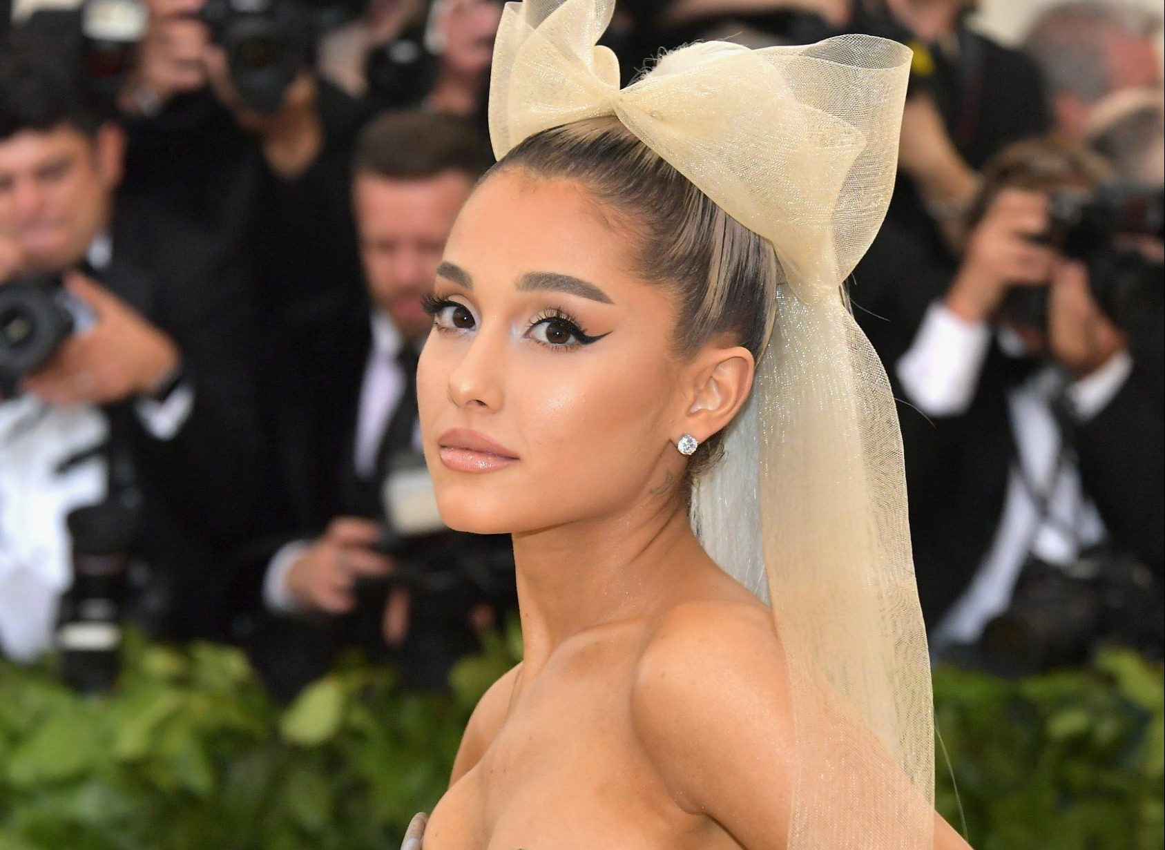 NEW YORK, NY - MAY 07: Ariana Grande attends the Heavenly Bodies: Fashion & The Catholic Imagination Costume Institute Gala at The Metropolitan Museum of Art on May 7, 2018 in New York City. (Photo by Neilson Barnard/Getty Images)