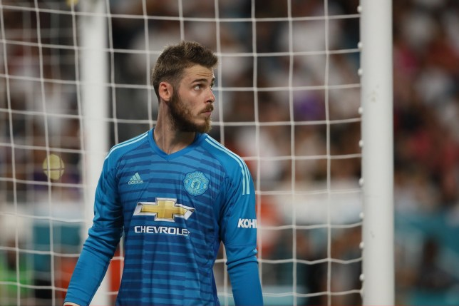 MIAMI, FL - JULY 31: David De Gea of Manchester United during the International Champions Cup 2018 fixture between Manchester United v Real Madrid at Hard Rock Stadium on July 31, 2018 in Miami, Florida. (Photo by Matthew Ashton - AMA/Getty Images)