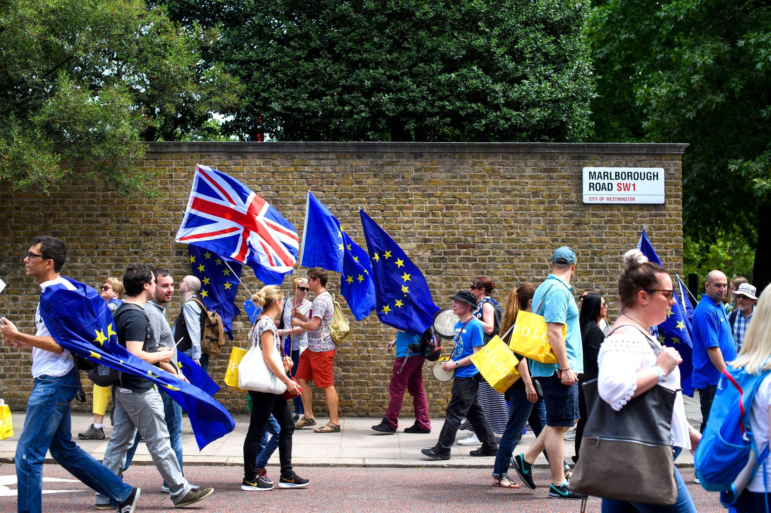 Mandatory Credit: Photo by Ben Cawthra/REX/Shutterstock (9725758a) Thousands of anti Brexit demonstrators take part in The People's Vote march for a second EU referendum in central London, on the second anniversary of the EU referendum. People's March for a People's Vote, London, UK - 23 Jun 2018