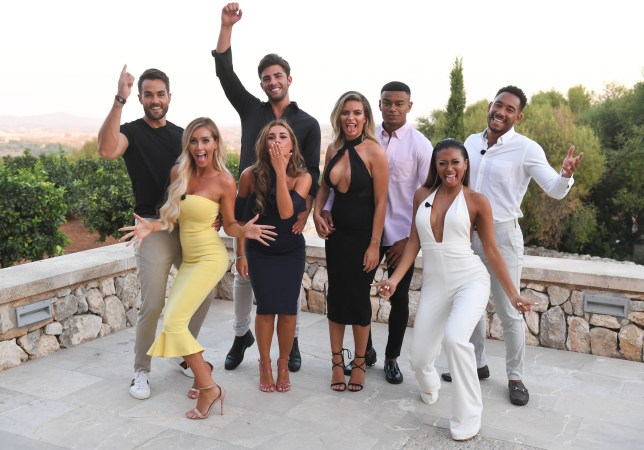 Editorial Use Only. No Merchandising. No Commercial Use Mandatory Credit: Photo by James Gourley/ITV/REX/Shutterstock (9773969e) Paul Knops, Laura Anderson, Jack Fincham, Dani Dyer, Wes Nelson, Megan Barton Hanson, Kazimir Crossley and Josh Denzel 'Love Island' TV Show, Series 4, Episode 57, The Final, Majorca, Spain - 30 Jul 2018