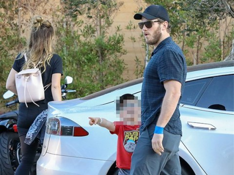 Loved up Chris Pratt takes son Jack out for dinner with girlfriend Katherine Schwarzenegger as they continue to bond