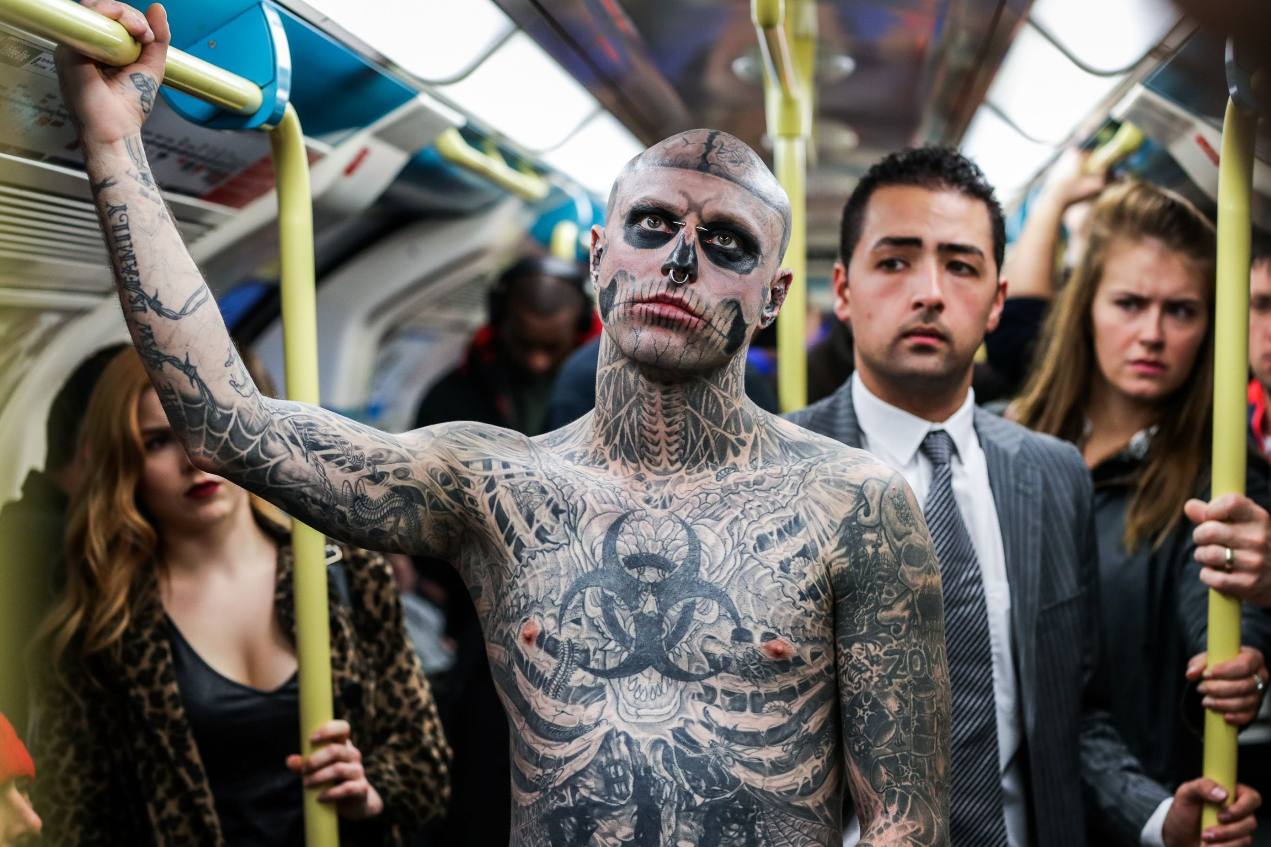 CREDIT: CPG Photography Ltd/Rex Shutterstock. Editorial use only. Not stock. Only for use in Thorpe Park story Mandatory Credit: Photo by CPG Photography Ltd/REX/Shutterstock (6078246i) Rick Genest, also known as Zombie Boy, spotted in London 'Zombie Boy' spotted in London to launch Thorpe Park's new Fright Nights scare maze, London, UK - 05 Oct 2016 FULL WORDS: http://www.rexfeatures.com/nanolink/ss56 Rick Genest, also known as ?Zombie Boy?, was spotted in London this morning to celebrate the launch of ?Platform 15? - Thorpe Park?s new Fright Nights scare maze, marking the 15th anniversary of the nation?s premiere Halloween event, returning on October 7th 2016. Zombie Boy, who has 90% of his body is covered in tattoos, holds a Guinness World Record for the most bones inked on a human body (138) and is famed for his work with Lady Gaga. Platform 15 is Thorpe Park?s biggest maze to date covering 450 metres of woodland and containing over 30 zombie actors.