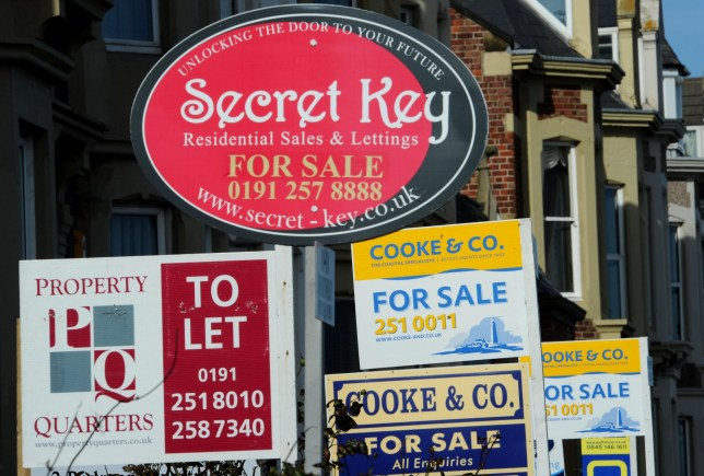 For sale signs in Cullercoats, North Tyneside, today as fears over the property market intensified after figures showed the average price of a UK property slumped more than 6,000 last month.