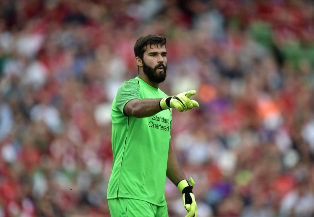 DUBLIN, IRELAND - AUGUST 04: Alisson Becker of Liverpool during the international friendly game between Liverpool and Napoli at Aviva Stadium on August 4, 2018 in Dublin, Ireland. (Photo by Charles McQuillan/Getty Images)