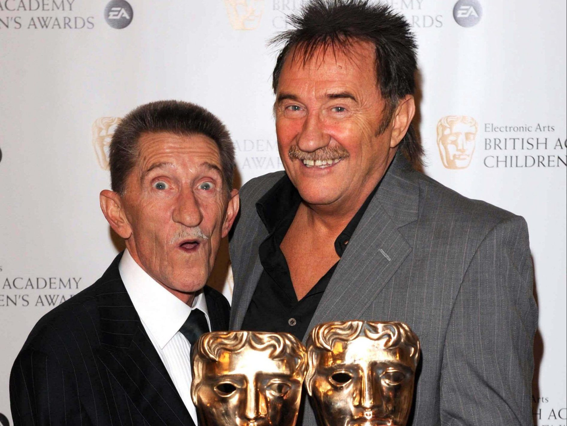File photo dated 30/11/2008 of the Chuckle Brothers, Barry (left) and Paul Elliott with the Special Award at the EA BAFTA Kids Awards at the Hilton Hotel in London, the veteran entertainer Barry Chuckle has died at the age of 73, his manager said. PRESS ASSOCIATION Photo. Issue date: Sunday August 5, 2018. See PA story DEATH Chuckle. Photo credit should read: Ian West/PA Wire