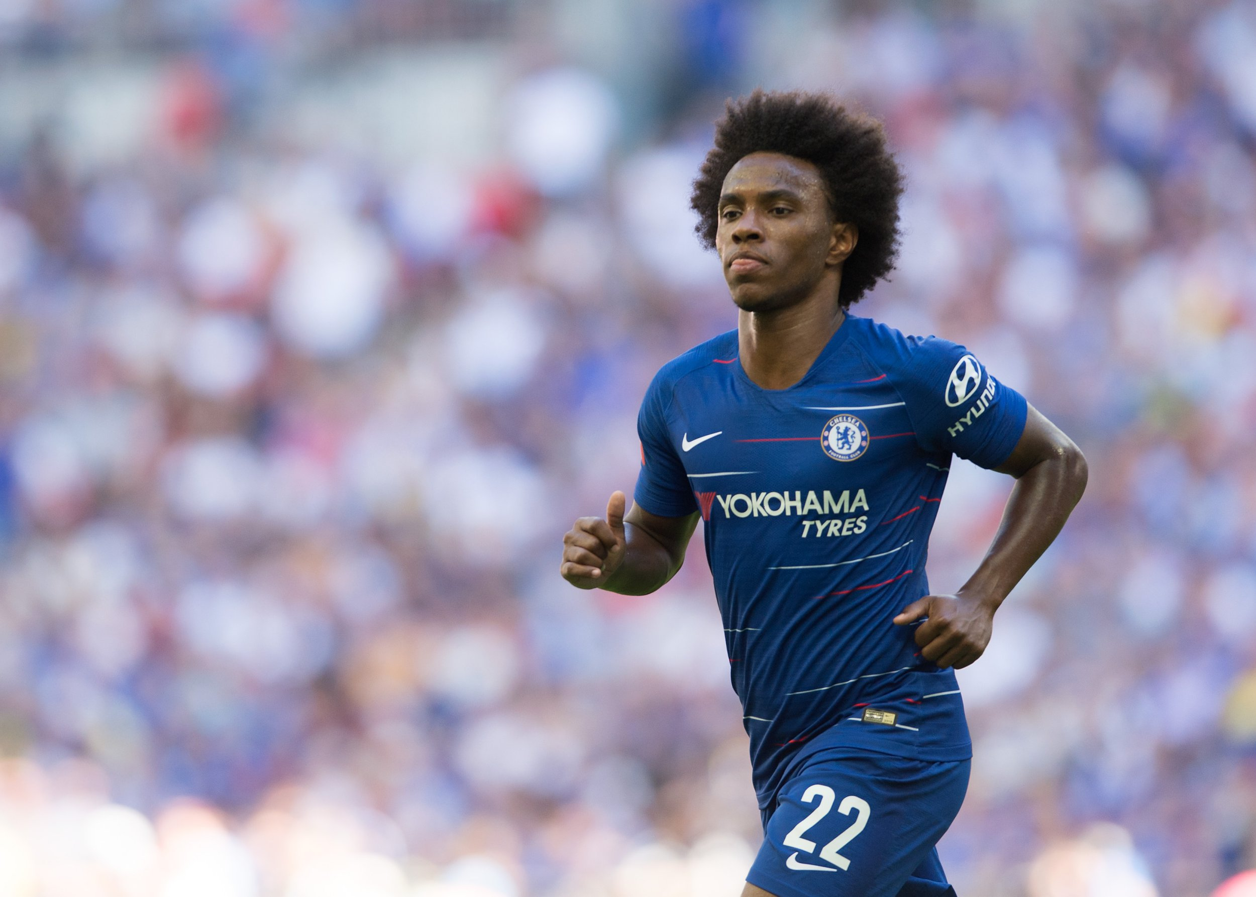 Willian of Chelsea during the The FA Community Shield Final match between Chelsea and Manchester City at Stamford Bridge, London, England on 5 August 2018. Photo by Vince Mignott / PRiME Media.