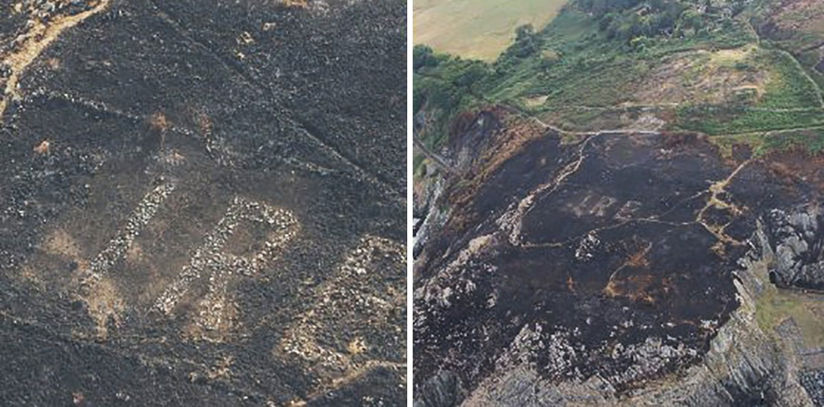 Huge sign not seen since WWII suddenly appears after gorse fire