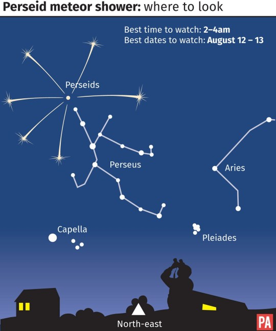 Where to look to see the Perseid meteor shower. Editable files from PA Graphics