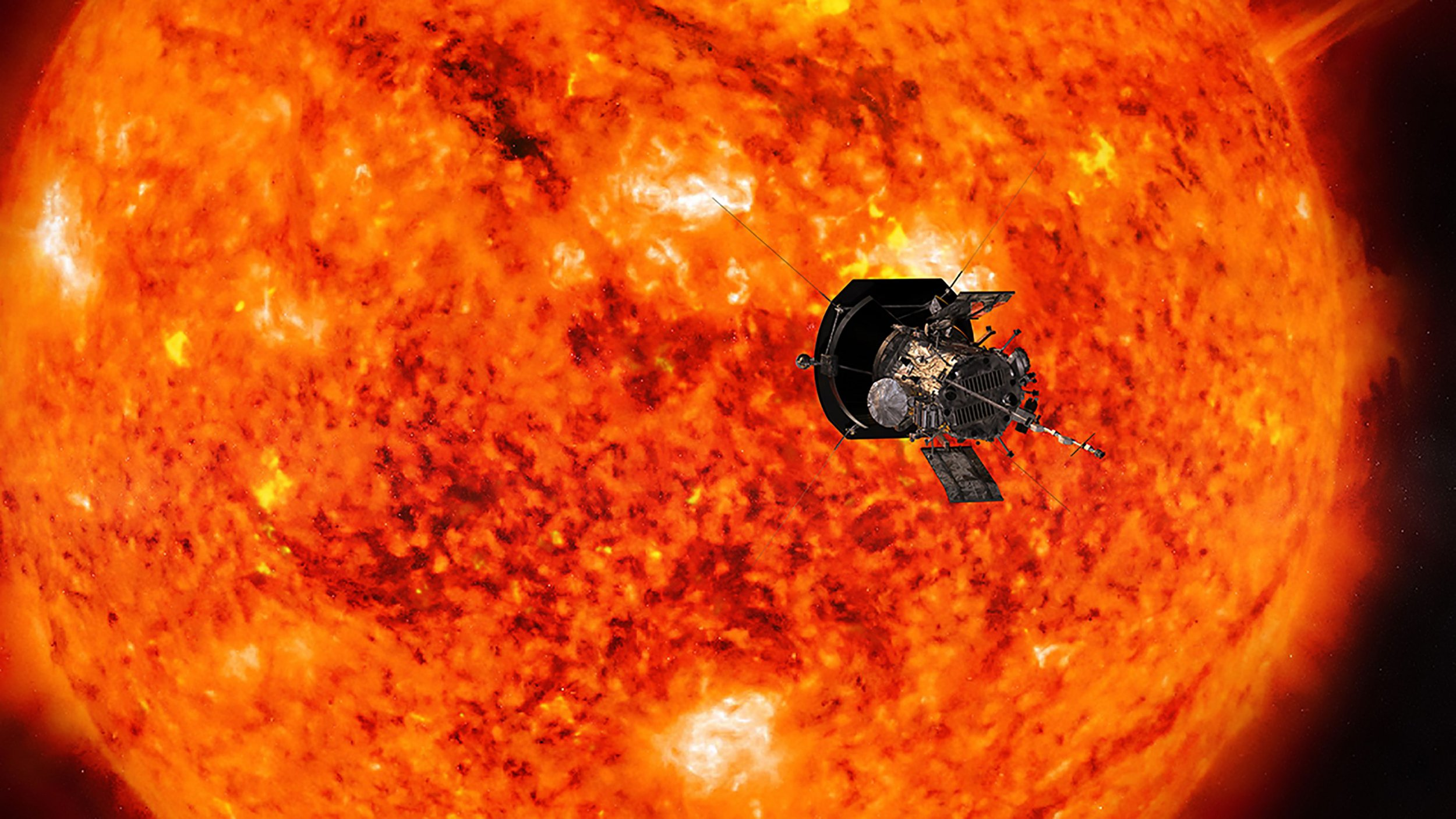 """This handout illustration obtained July 6, 2018 courtesy of NASA/Johns Hopkins APL shows an artists conception of NASAs Parker Solar Probe, the spacecraft that will fly through the Suns corona to trace how energy and heat move through the stars atmosphere. NASA is poised to launch a $1.5 billion spacecraft on a brutally hot journey toward the Sun, offering scientists the closest-ever view of our strange and mysterious star. After the Parker Solar Probe blasts off from Cape Canaveral, Florida, on August 11, 2018, it will become the first spacecraft ever to fly through the Sun's scorching atmosphere, known as the corona. / AFP PHOTO / NASA/Johns Hopkins APL / HO / RESTRICTED TO EDITORIAL USE / MANDATORY CREDIT: """"AFP PHOTO / NASA / Johns Hopkins APL"""" / NO MARKETING / NO ADVERTISING CAMPAIGNS / DISTRIBUTED AS A SERVICE TO CLIENTS TO GO WITH AFP STORY by Kerry SHERIDAN, """"NASA poised to launch first Sun-skimming spaceship"""" / HO/AFP/Getty Images"""