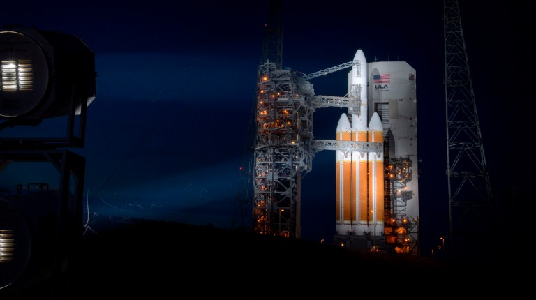 "This handout photo released by NASA shows the United Launch Alliance Delta IV Heavy rocket with the Parker Solar Probe onboard shortly after the Mobile Service Tower was rolled back on August 10, 2018, Launch Complex 37 at Cape Canaveral Air Force Station in Florida. - NASA counted down on August 10 to the launch of a $1.5 billion spacecraft that aims to plunge into the Sun's sizzling atmosphere and become humanity's first mission to explore a star. The car-sized Parker Solar Probe is scheduled to blast off on a Delta IV Heavy rocket from Cape Canaveral, Florida early on August 11. (Photo by Bill INGALLS / NASA / AFP) / RESTRICTED TO EDITORIAL USE - MANDATORY CREDIT ""AFP PHOTO / NASA / BILL INGALLS "" - NO MARKETING NO ADVERTISING CAMPAIGNS - DISTRIBUTED AS A SERVICE TO CLIENTSBILL INGALLS/AFP/Getty Images"