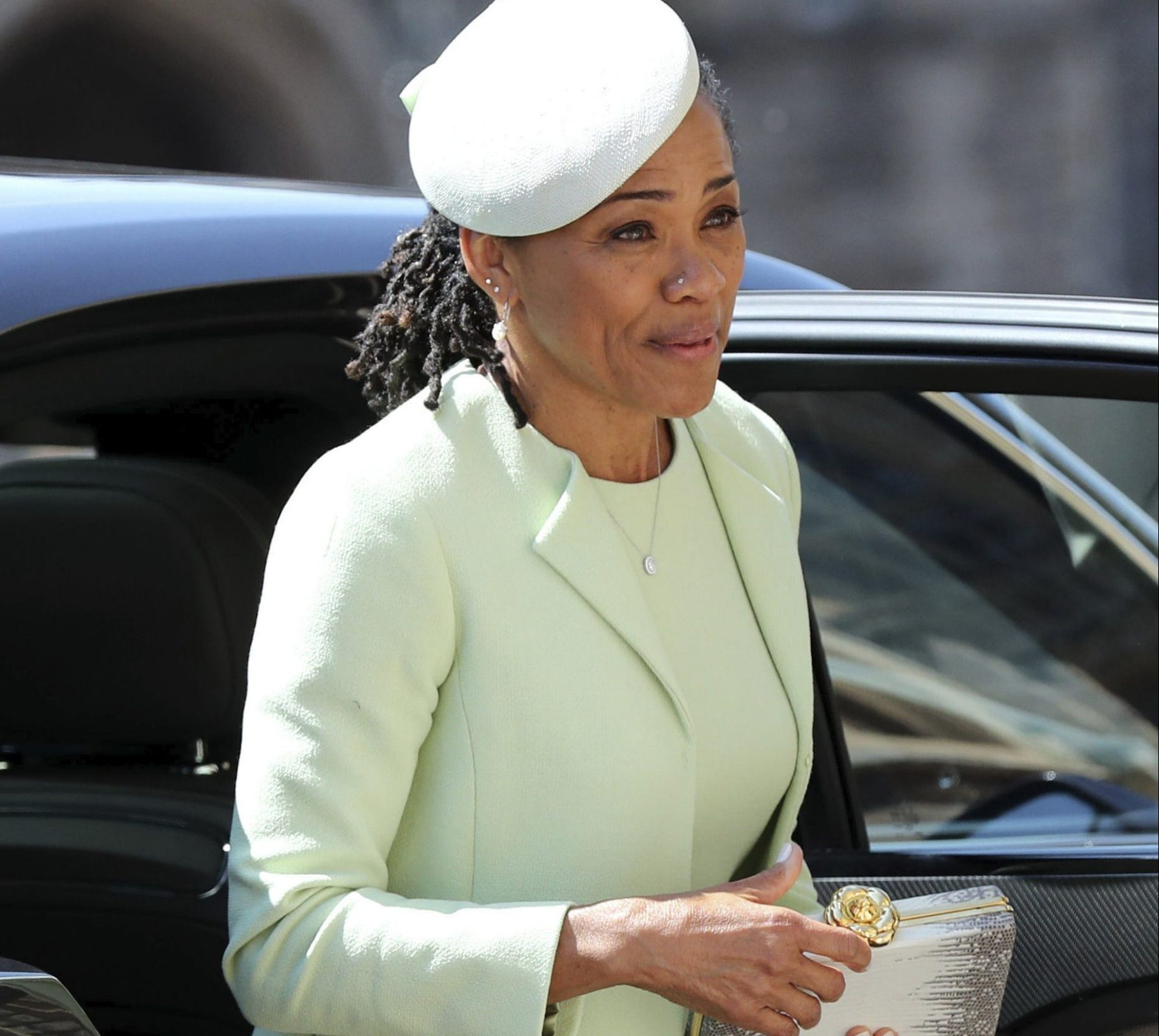 Doria Ragland arrives for the wedding ceremony of Prince Harry and Meghan Markle at St. George's Chapel in Windsor Castle in Windsor, near London, England, Saturday, May 19, 2018. (Gareth Fuller/pool photo via AP)