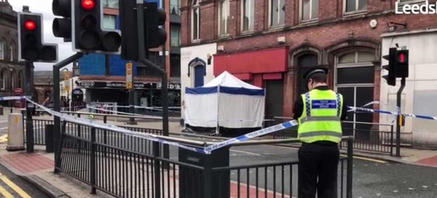 A forensic tent has been erected and a police cordon remains in place after an incident in Leeds city centre overnight. Police tape is draped across the top of Call Lane and the width of Duncan Street is also closed off outside the Corn Exchange. The road closures extend down to the crossroads at Briggate, where signs warn drivers and pedestrians of the disruption.