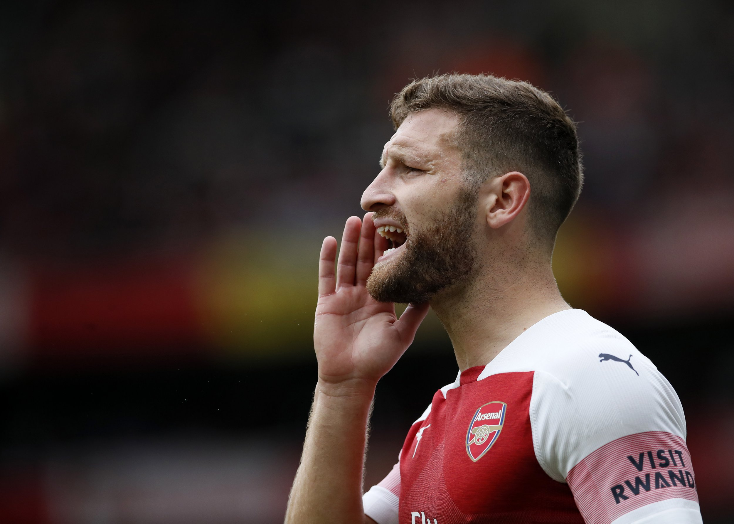 Arsenal's Shkodran Mustafi in action during the premier league match at the Emirates Stadium, London. Picture date12th August 2018. Picture credit should read: David Klein/Sportimage