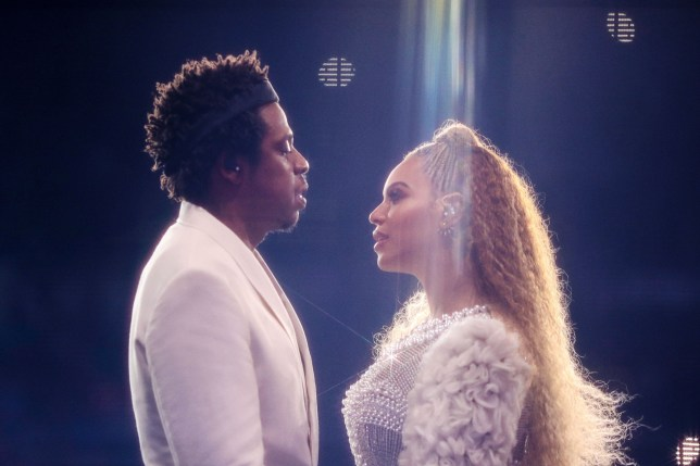 Mandatory Credit: Photo by PictureGroup/REX/Shutterstock (9785778a) Beyonce Knowles and Jay Z Beyonce and Jay-Z in concert, 'On The Run II Tour', Minneapolis, USA - 08 Aug 2018