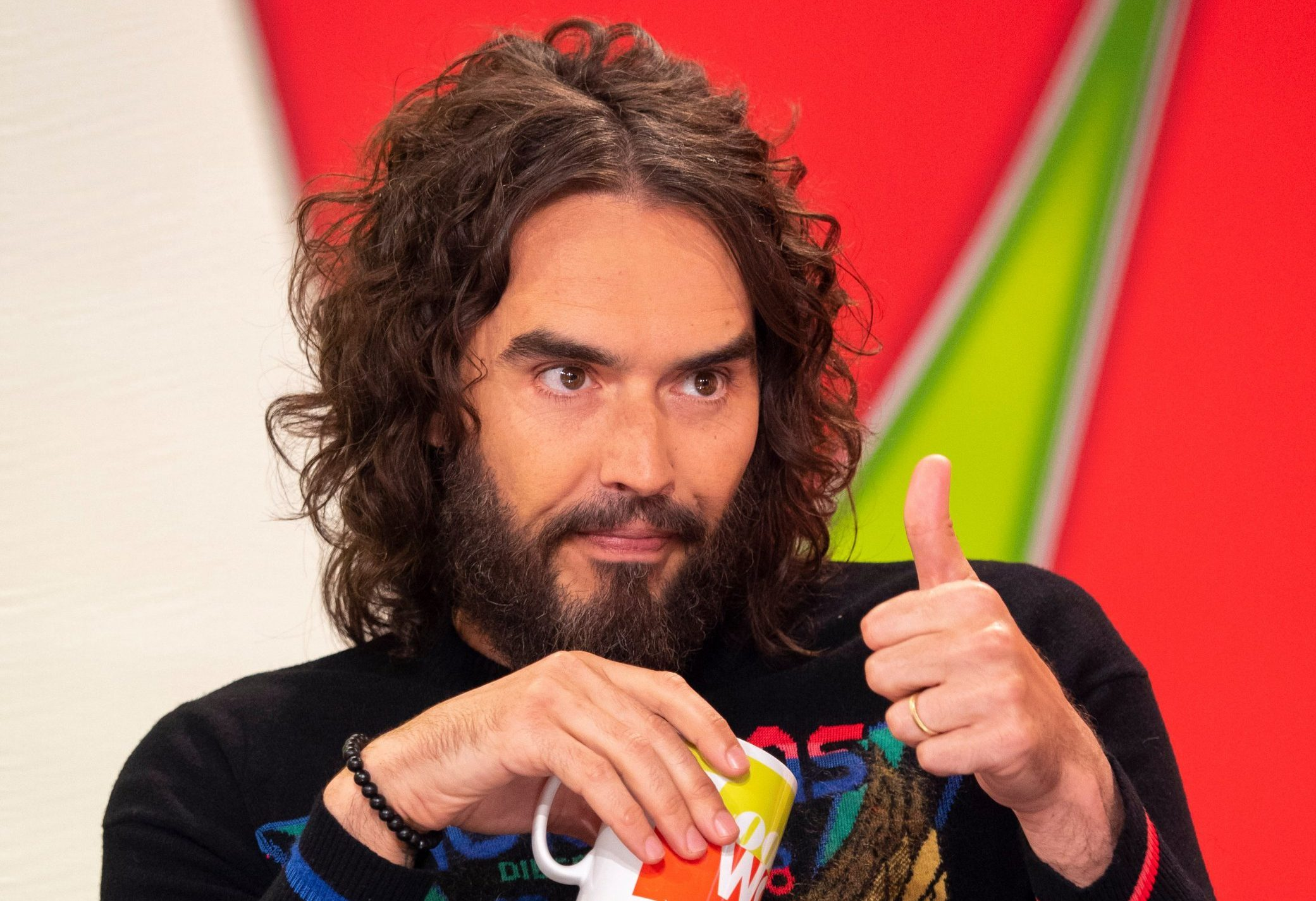 EDITORIAL USE ONLY. NO MERCHANDISING IN US EXCLUSIVE RATES APPLY Mandatory Credit: Photo by Ken McKay/ITV/REX/Shutterstock (9675427az) Russell Brand 'Loose Women' TV show, London, UK - 16 May 2018