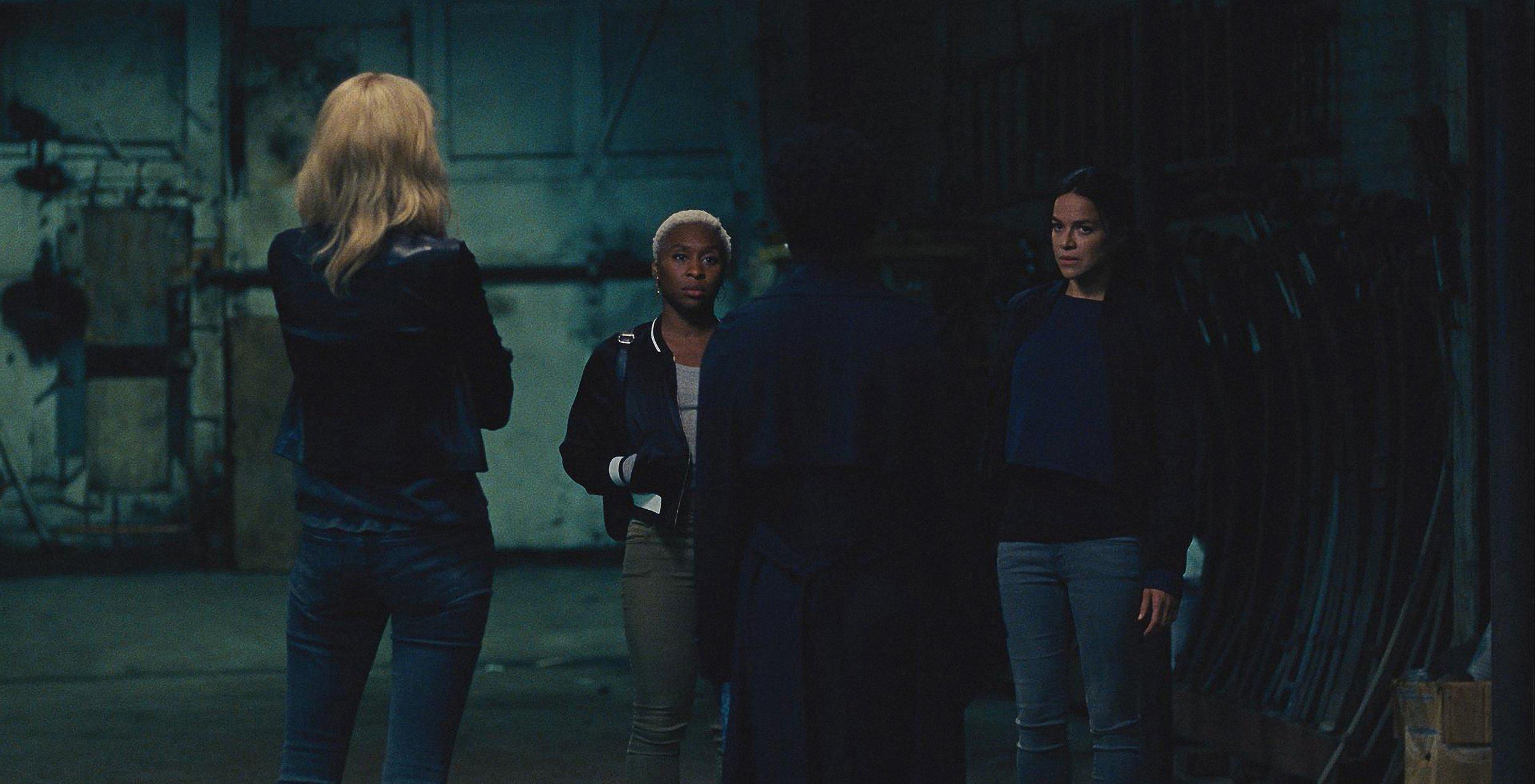 L-R: Elizabeth Debicki (back to camera), Cynthia Erivo, Viola Davis (back to camera), and Michelle Rodriguez star in Twentieth Century Fox???s WIDOWS. Photo Credit: Courtesy Twentieth Century Fox.