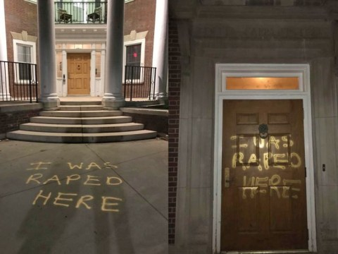 Students write 'I Was Raped Here' in campaign for sexual assault awareness