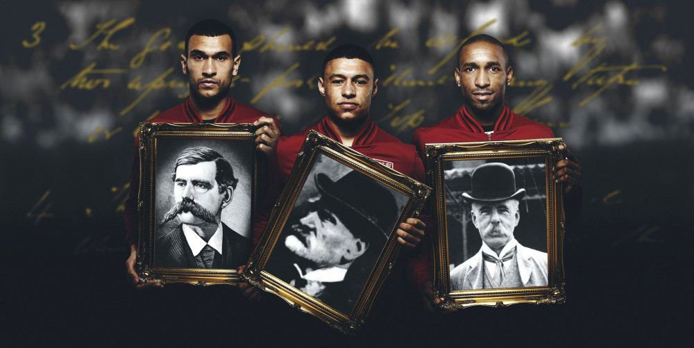 """Mandatory Credit: Photo by Tim Stewart News/REX/Shutterstock (2311426j) England players (L-R) Steven Caulker, Alex Oxlade-Chamberlain and Jermain Defoe hold portraits of 'founding fathers' (L-R) Arthur Pember, Ebenezer Cobb Morley and Charles William Alcock England footballers join Football Association's search for descendants of 8 'founding fathers' of the sport, Britain - 29 Apr 2013 *Full story: http://www.rexfeatures.com/nanolink/kvl4 England stars have joined the Football Association's global hunt for descendants of the eight British 'founding fathers' who established their sport 150 years ago. Players including Joe Hart, Jermain Defoe, James Milner, Alex Oxlade-Chamberlain and Steven Caulkner posed with portraits of some of the trail-blazers who formed the FA. The eight gathered in London's Freemasons' Tavern on 26 October, 1863 to draft the 13 original laws of association football. Ebenezer Cobb Morley, captain of the Barnes club and hailed for his """"very pretty play"""" in newspaper match reports, organised the """"meeting of captains"""". At the meeting he proposed: """"It is advisable that a football association should be formed for the purpose of settling a code of rules for the regulation of the game of football""""."""
