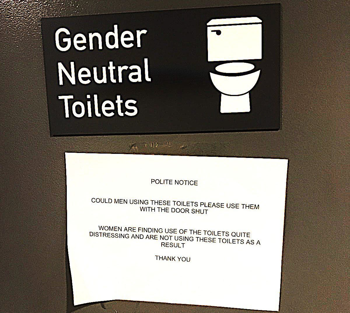 The Gender Neutral Toilets and sign seen at the Home Office / Source: George Odling